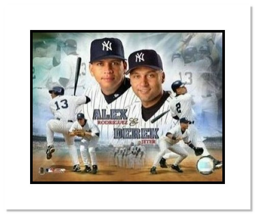 Alex Rodriguez and Derek Jeter New York Yankees MLB Double Matted 8x10 Photograph Composite Collage
