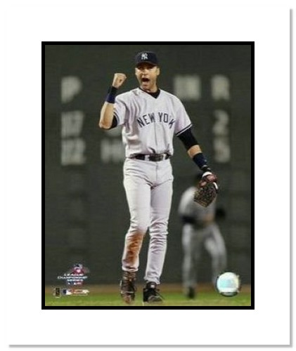 Derek Jeter New York Yankees MLB Double Matted 8x10 Photograph Fist Pump in Boston