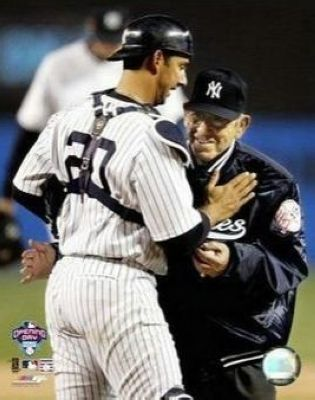 Jorge Posada and Yogi Berra New York Yankees MLB 8x10 Photograph 1st Pitch