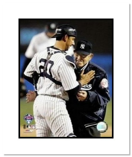 Jorge Posada and Yogi Berra New York Yankees MLB Double Matted 8x10 Photograph 1st Pitch