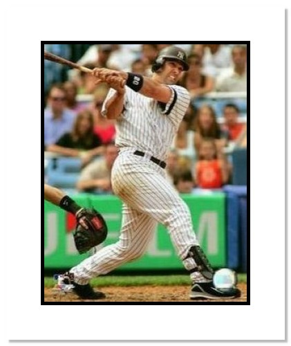 Jorge Posada New York Yankees MLB Double Matted 8x10 Photograph Swinging