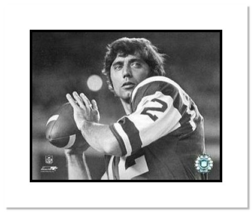 Joe Namath New York Jets NFL Double Matted 8x10 Photograph Up Close Black and White