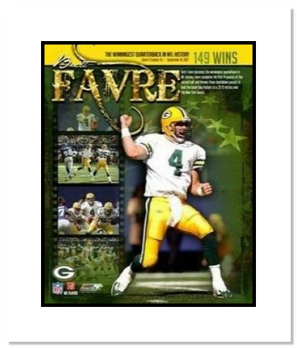 Brett Favre Green Bay Packers NFL Double Matted 8x10 Photograph 149 Career Wins