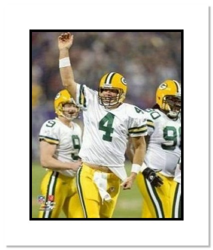Brett Favre Green Bay Packers NFL Double Matted 8x10 Photograph Record Breaking 421st TD Arm Raised