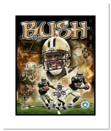 Reggie Bush New Orleans Saints NFL Double Matted 8x10 Photograph Collage