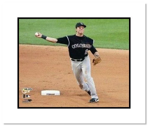 Troy Tulowitzki Colorado Rockies MLB Double Matted 8x10 Photograph 2007 NLCS Throwing