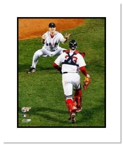 Jonathan Papelbon and Jason Varitek Boston Red Sox MLB Double Matted 8x10 Photograph 2007 ALCS Celebration