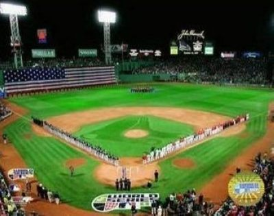 2007 Boston Red Sox MLB 8x10 Photograph World Series Game 1 Flag