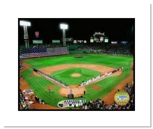 2007 Boston Red Sox MLB Double Matted 8x10 Photograph World Series Game 1 Flag