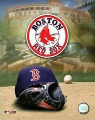 Boston Red Sox MLB 8x10 Photograph Team Logo and Baseball Cap Collage