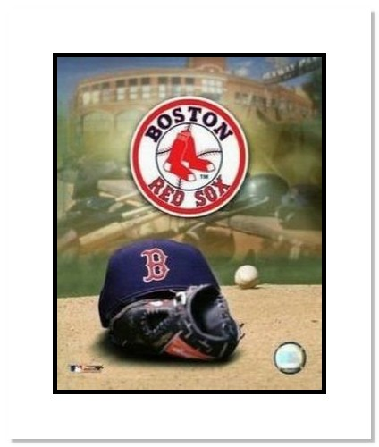 Boston Red Sox MLB Double Matted 8x10 Photograph Team Logo and Baseball Cap Collage