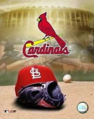 St Louis Cardinals MLB 8x10 Photograph Team Logo and Baseball Cap Collage
