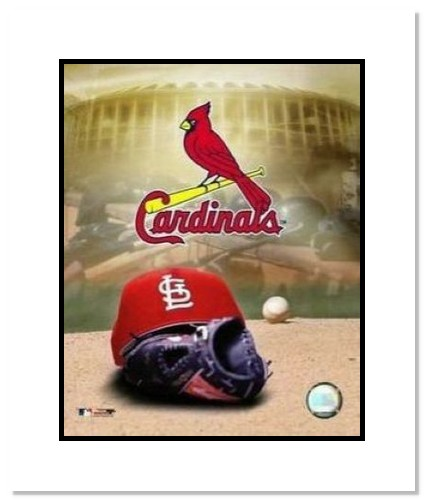 St Louis Cardinals MLB Double Matted 8x10 Photograph Team Logo and Baseball Cap Collage