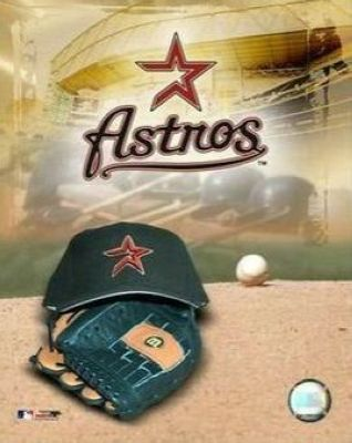 Houston Astros MLB 8x10 Photograph Team Logo and Baseball Cap Collage