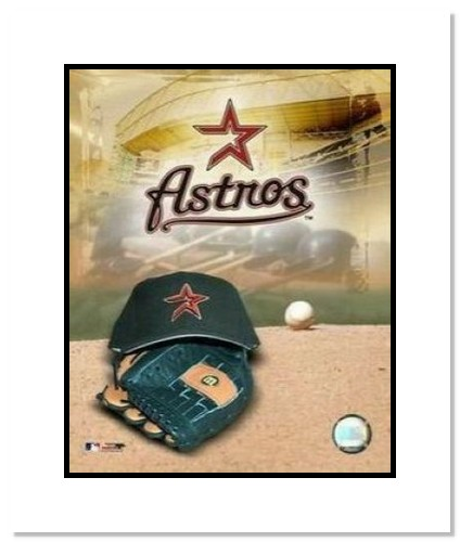 Houston Astros MLB Double Matted 8x10 Photograph Team Logo and Baseball Cap Collage