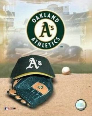 Oakland Athletics MLB 8x10 Photograph Team Logo and Baseball Cap Collage