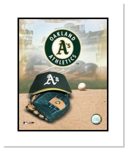 Oakland Athletics MLB Double Matted 8x10 Photograph Team Logo and Baseball Cap Collage