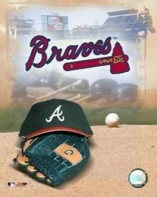 Atlanta Braves MLB 8x10 Photograph Team Logo and Baseball Cap Collage