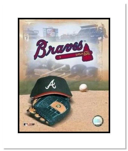 Atlanta Braves MLB Double Matted 8x10 Photograph Team Logo and Baseball Cap Collage