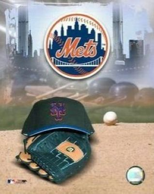 New York Mets MLB 8x10 Photograph Team Logo and Baseball Cap Collage