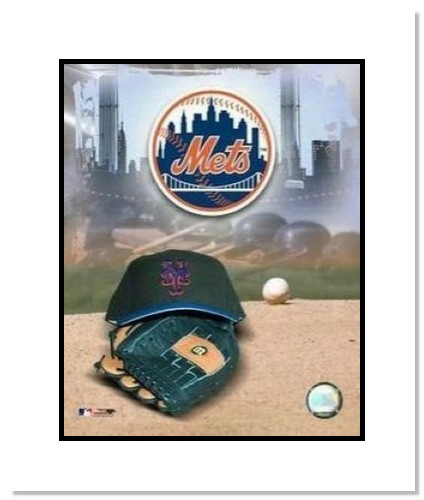 New York Mets MLB Double Matted 8x10 Photograph Team Logo and Baseball Cap Collage