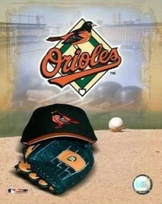 Baltimore Orioles MLB 8x10 Photograph Team Logo and Baseball Cap Collage