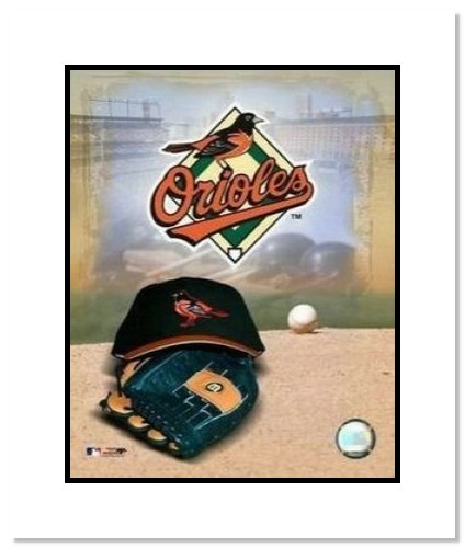 Baltimore Orioles MLB Double Matted 8x10 Photograph Team Logo and Baseball Cap Collage
