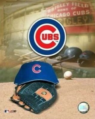 Chicago Cubs MLB 8x10 Photograph Team Logo and Baseball Cap Collage