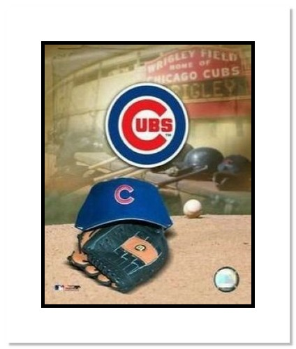 Chicago Cubs MLB Double Matted 8x10 Photograph Team Logo and Baseball Cap Collage