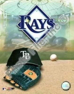 Tampa Bay Rays MLB 8x10 Photograph Team Logo and Baseball Cap Collage