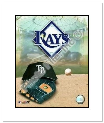 Tampa Bay Rays MLB Double Matted 8x10 Photograph Team Logo and Baseball Cap Collage