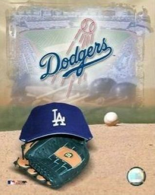 Los Angeles Dodgers MLB 8x10 Photograph Team Logo and Baseball Cap Collage