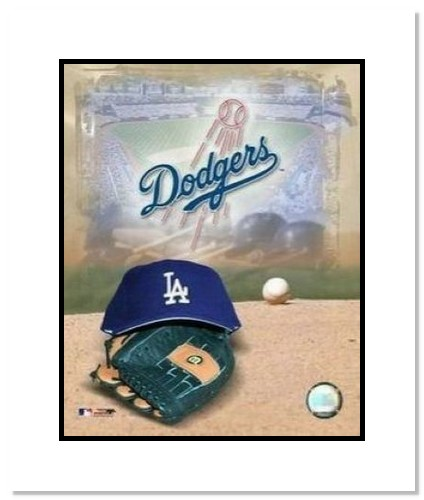 Los Angeles Dodgers MLB Double Matted 8x10 Photograph Team Logo and Baseball Cap Collage