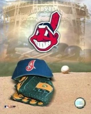 Cleveland Indians MLB 8x10 Photograph Team Logo and Baseball Cap Collage