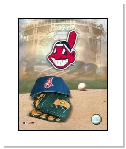 Cleveland Indians MLB Double Matted 8x10 Photograph Team Logo and Baseball Cap Collage