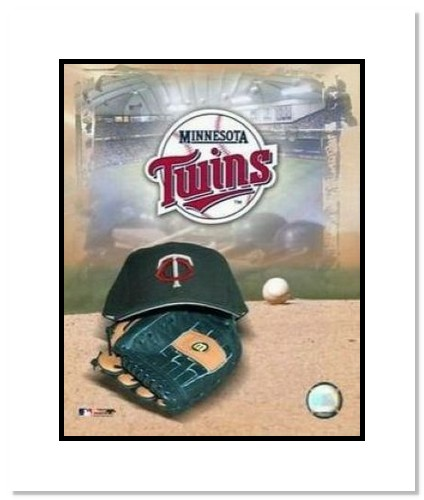 Minnesota Twins MLB Double Matted 8x10 Photograph Team Logo and Baseball Cap Collage