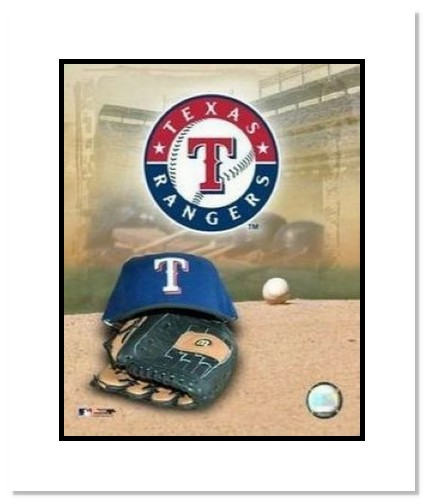 Texas Rangers MLB Double Matted 8x10 Photograph Team Logo and Baseball Cap Collage