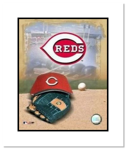Cincinnati Reds MLB Double Matted 8x10 Photograph Team Logo and Baseball Cap Collage