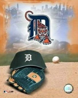 Detroit Tigers MLB 8x10 Photograph Team Logo and Baseball Cap Collage