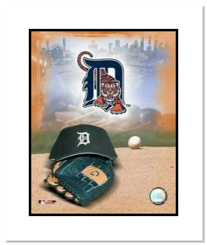 Detroit Tigers MLB Double Matted 8x10 Photograph Team Logo and Baseball Cap Collage