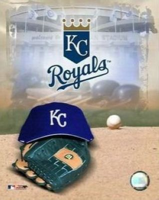 Kansas City Royals MLB 8x10 Photograph Team Logo and Baseball Cap Collage