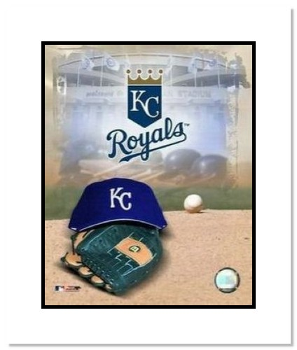 Kansas City Royals MLB Double Matted 8x10 Photograph Team Logo and Baseball Cap Collage