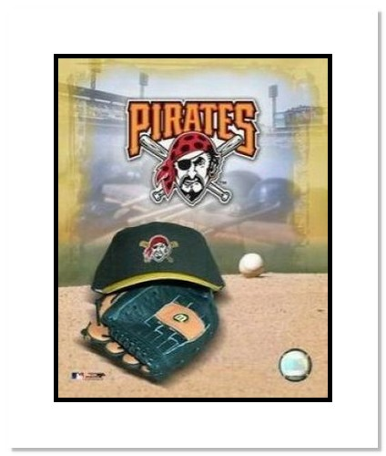 Pittsburgh Pirates MLB Double Matted 8x10 Photograph Team Logo and Baseball Cap Collage