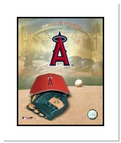 Los Angeles Angels MLB Double Matted 8x10 Photograph Team Logo and Baseball Cap Collage