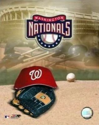 Washington Nationals MLB 8x10 Photograph Team Logo and Baseball Cap Collage