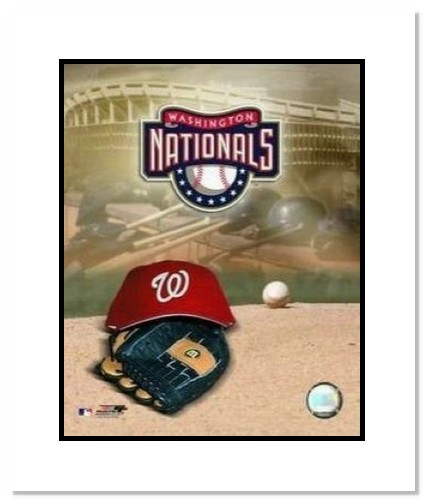 Washington Nationals MLB Double Matted 8x10 Photograph Team Logo and Baseball Cap Collage
