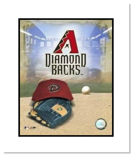 Arizona Diamondbacks MLB Double Matted 8x10 Photograph Team Logo and Baseball Cap Collage