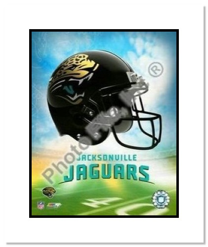 Jacksonville Jaguars NFL Double Matted 8x10 Photograph Team Logo and Football Helmet Collage