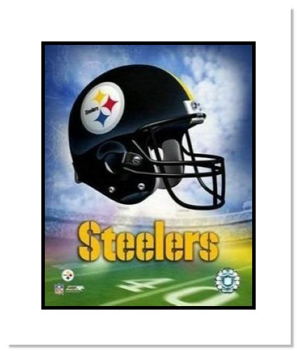 Pittsburgh Steelers NFL Double Matted 8x10 Photograph Team Logo and Football Helmet Collage