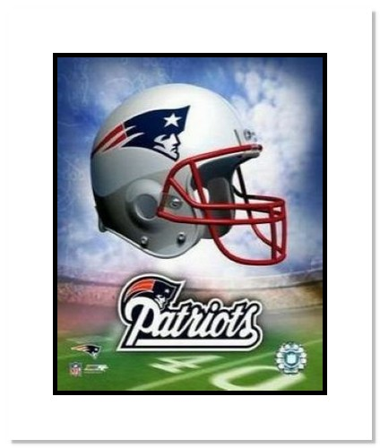 New England Patriots NFL Double Matted 8x10 Photograph Team Logo and Football Helmet Collage